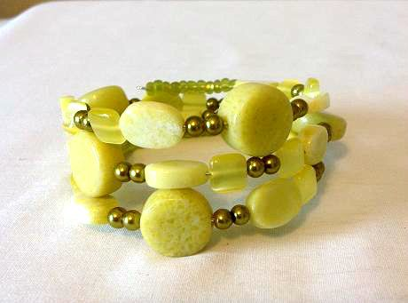 A personal favorite from my Etsy shop https://www.etsy.com/listing/243568866/chartreuse-glass-bead-memory-wire