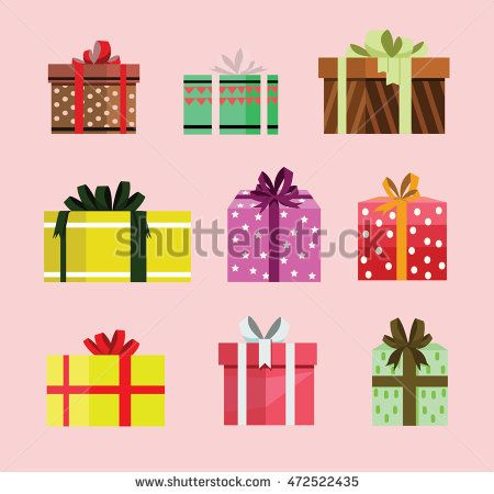 gift box birthday set present with different pattern. vector illustration 96
