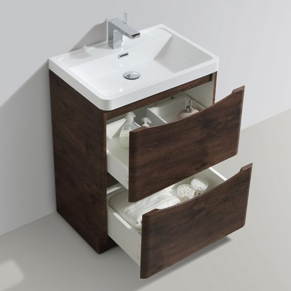 Shop the Ronda Chestnut 600mm Wide Floor Standing Vanity Unit online. Features a modern handle-less design. Now available at Victorian Plumbing.co.uk.