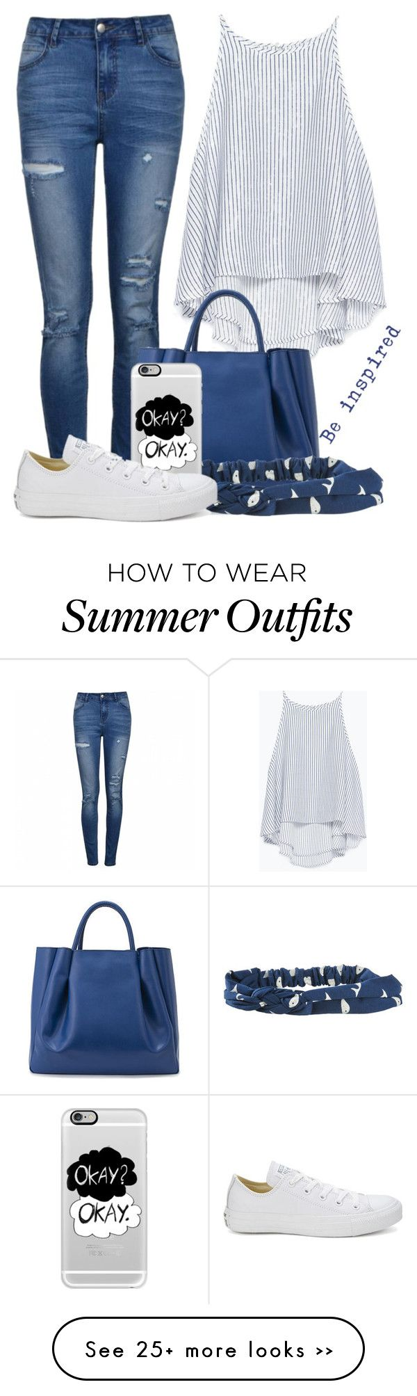 """""""Casual Blue and White Summer Outfit"""" by cloudybooks on Polyvore"""