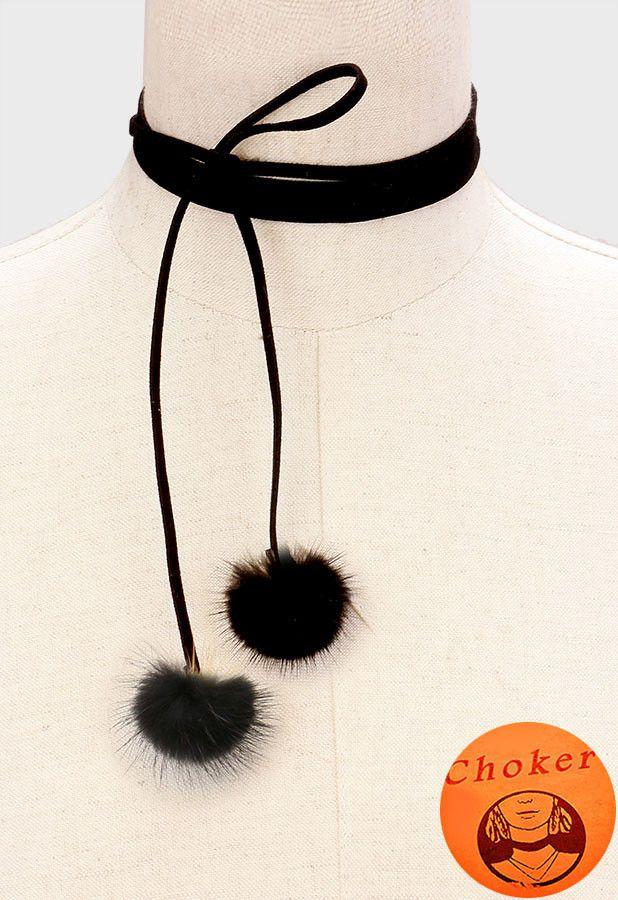 """70"""" black faux suede pom pom faux fur collar wrap choker necklace"""