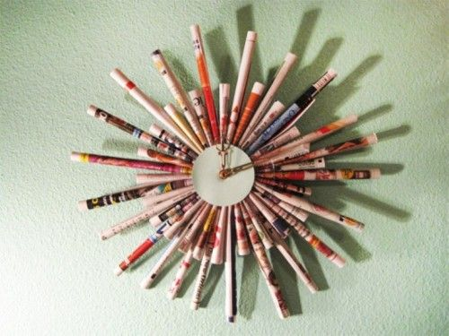 Cool DIY Clock Of Rolled Up Magazine Sheets | Shelterness