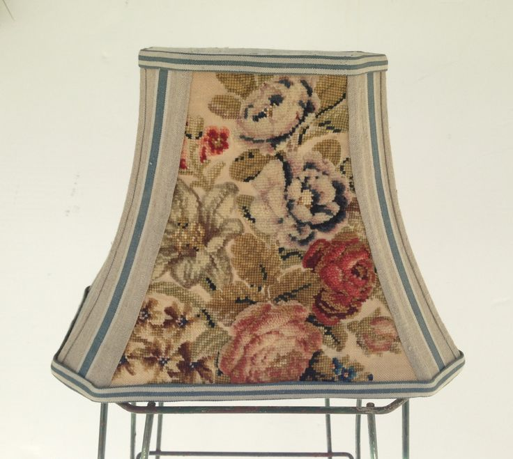 lampshade ladyu0027s favorite floral rectangle lamp shade vintage chenille needlepoint amazing textures vintage french ticking to die for - Rectangular Lamp Shades