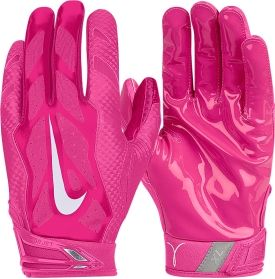5 Engineered for superior fit and performance, the Nike® Vapor Jet 3.0 Pink Football Gloves boast a lightweight, yet structured feel to help high-speed skill positions out-hustle their opponents. Magnigrip™ palms with Pink graphics shows off your support for the cause, while Free Flex Gussets allow your hands to open fully for maximum catching potential. The Adult Pink Vapor Jet 3.0 Receiver Gloves also offer pre-curved fingers.