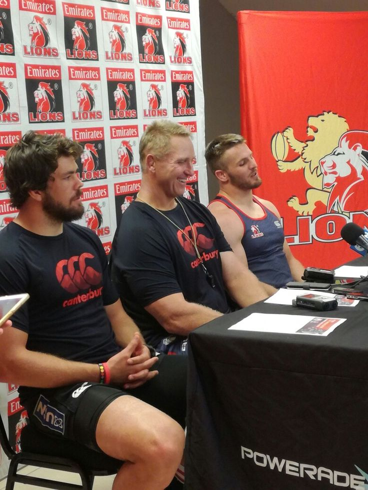 Coach Johan Ackermann, captain Warren Whiteley and senior Emirates Lions player, Jaco Kriel yesterday at the press conference at Emirates Airline Park. #LeyaTheLion #Liontaiment #Lions4Life #SuperRugby #EmiratesLions #BeThere #MyLionsMoment #LionsPride #LIOvRED