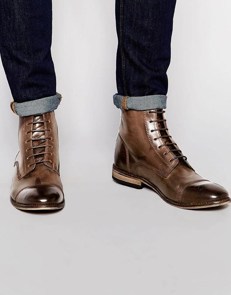 Botas de cuero marrón con cordones con puntera en contraste de ASOS
