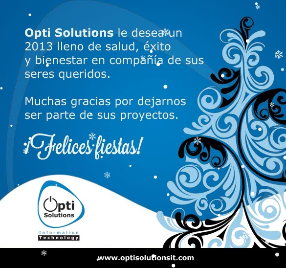 Diseño publicitario - Stop Diseño Gráfico - Diseño de Tarjeta navideña electrónica - OptiSolutions IT.