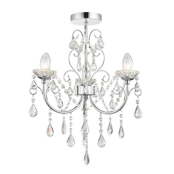 Snow Inspired... The Tabitha 3 light semi flush ceiling fitting is finished in a chrome effect plate with clear crystal glass detail and droplets. IP44 rated so suitable for use in the bathroom, dimmable and suitable for use with LED lamps. Matching items available