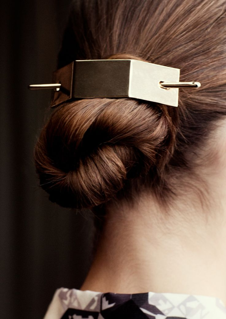 angular metal hair barrette