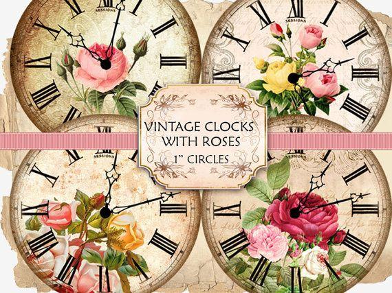 Vintage Clock Face Roses