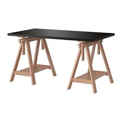 "IKEA - LINNMON / FINNVARD, Table, gray/beech, 59x29 1/2 "", , You can choose a flat or tilted table top, which is good for writing, painting or drawing, by adjusting the trestle.Plenty of room on the shelf under the trestle for your printer, books or papers. That keeps your table top clear so you have more room to work."