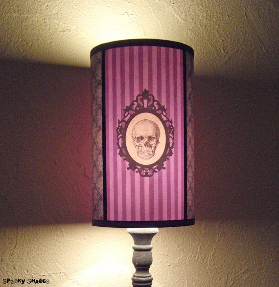 Baroque Skull Purple Lamp Shade Lampshade - Halloween decor, skull lamp shade, gift for her, purple lamp, customizable colors,goth decor