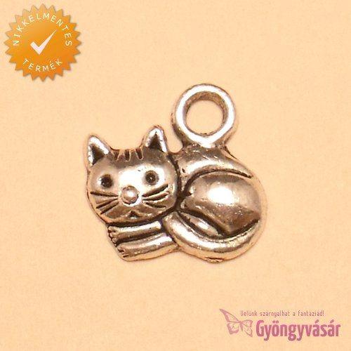 Ezüstszínű cica - nikkelmentes fém zsuzsu / fityegő