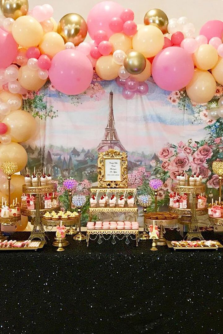 Pink And Gold Paris Theme Birthday Party With Macarons