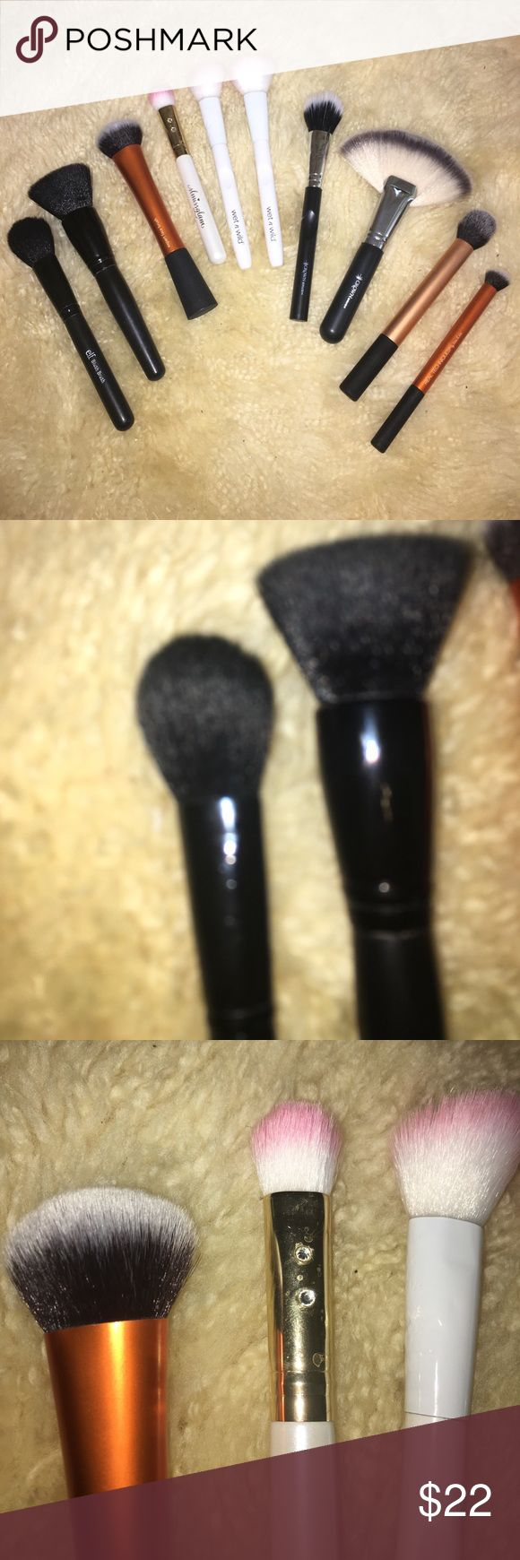 Ultimate Face Makeup Brush Bundle/Lot These brushes are slightly damp in the pictures because I just washed and sanitized them. Included are: 1 ELF blush brush, 1 ELF powder brush, 1 real techniques expert Face brush, 1 real techniques deluxe concealer brush, 1 sl missglam W07 brush, 2 wet n wild blush brushes, 1 crown brush duo fibre brush, 1 crown brush ss023 jumbo kabuki fan, and 1 real techniques contour brush. I also am willing to make custom bundles and I have a very generous bundle…