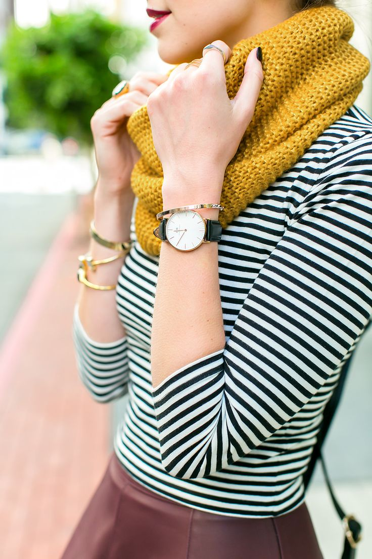 Mustard tube scarf and stripe top