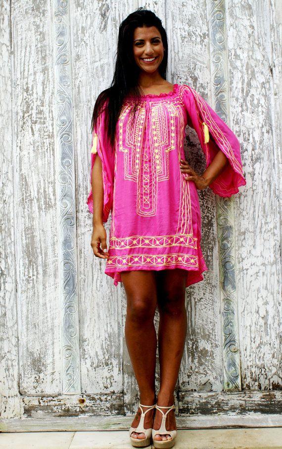 SALE!!Tassel Short dress/Tassel Tunic/Boho Dress/Beach Tunic/Embroidery Tunic * MARGARETE  DRESS