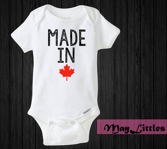 Made In Canada- Canada Day Onesie by MayLittles on Etsy, $19.99