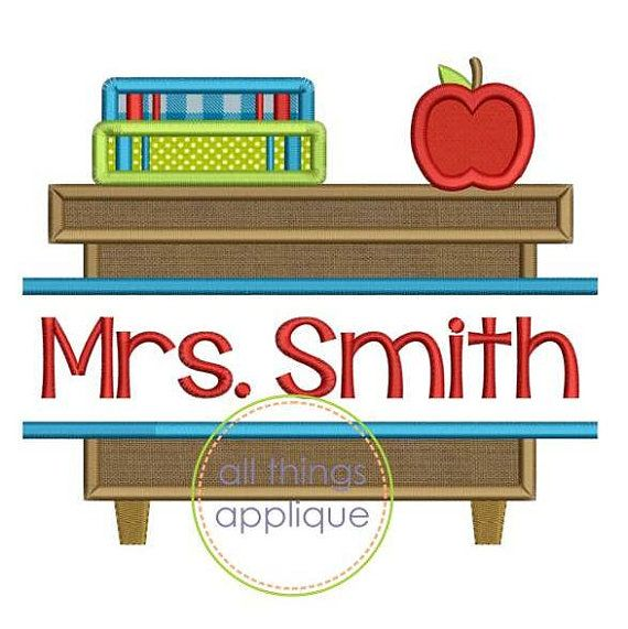 This Split Teacher Desk is perfect for teacher gifts! Stitch on a hand towel or burlap flag and personalize with your teachers name!  Note: No font is included with this design.   Sizes Include: 4x4 hoop - 3.85 x 3.26 Stitches: 6980 5x7 hoop - 4.85 x 5.72 Stitches: 10727 6x10 hoop - 5.85 x 6.90 Stitches: 13470 8x8 hoop - 7.45 x 6.32 Stitches: 14599   Formats: PES, HUS, JEF, SEW, DST, VIP, VP3, EXP, XXX   TERMS OF USE: *All designs are copyrighted by either All Things Applique or by digital…