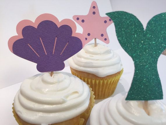 Bajo las mar sirena Cupcake Toppers