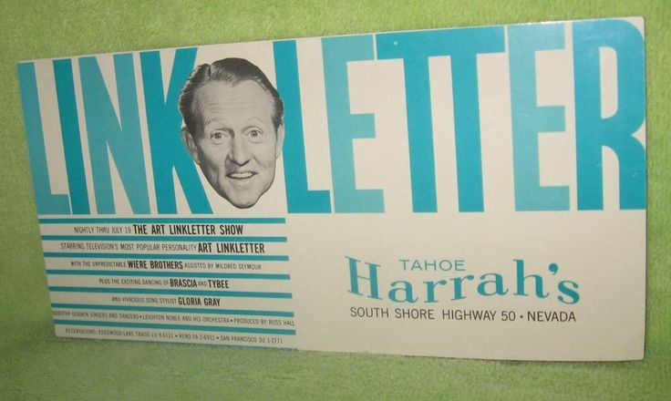 "Vintage Art Linkletter July 5  Harrah's Tahoe Postcard 8"" x 4"" Unused"