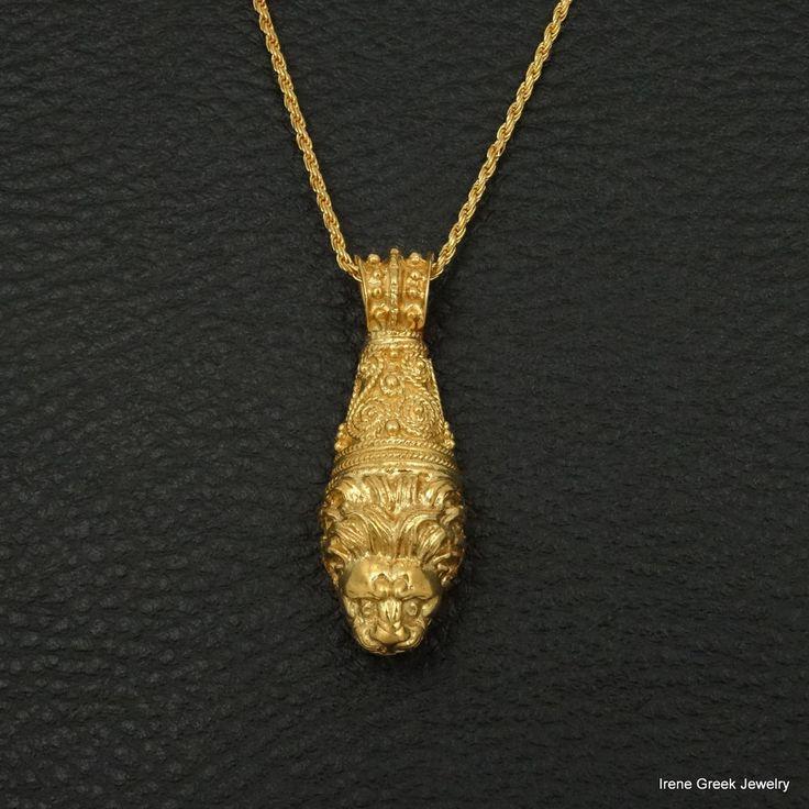 LION HEAD PENDANT BYZANTINE STYLE 925 STERLING SILVER 22K GOLD PLATED LUXURY  #IreneGreekJewelry #Pendant