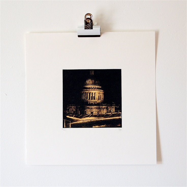 St Paul's Cathedral screen print. The view is at night from the roof of One New Change in Cheapside. www.lucychapman.me