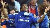 Didier Drogba (centre) celebrates with team-mates