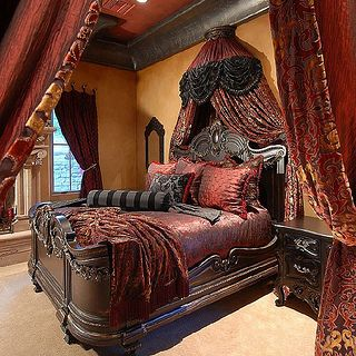 Image result for maroon gold brocade curtain bed