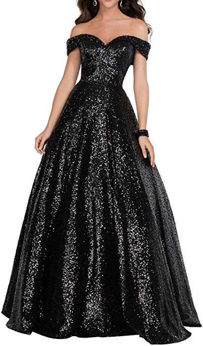 c52c91eb Amazon.com: Women's Long Off Shoulder Prom Dress Sparkly Sequins Evening  Party Ball Gown 140 Black US24: Clothing