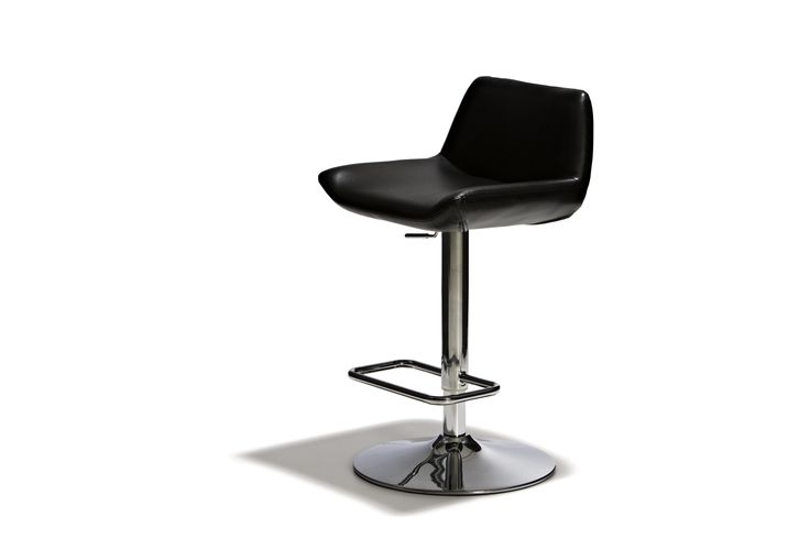 Melbourne - Barstol, höj- och sänkbar med sits i konstläder och underrede i kromat stål.