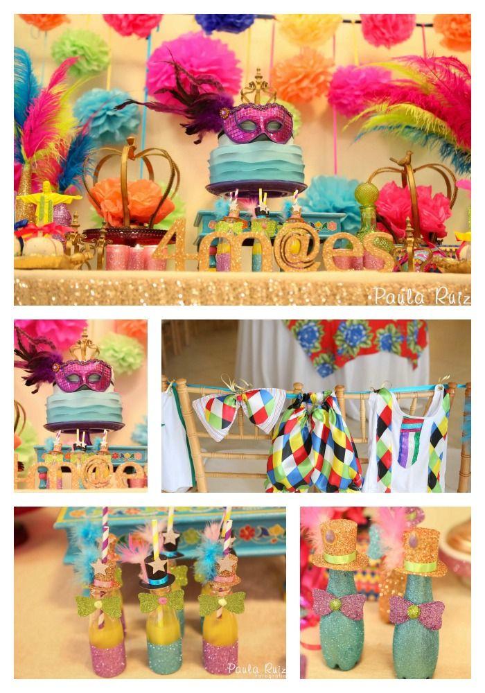 """Olha que luxo essa festa infantil com tema de carnaval! Amamos o uso de glitter nas garrafinhas. Ache aqui e na nossa página na Pinterest idéias incríveis para quem quer fazer uma produção em casa ou fazer uma """"matinê"""" no Gavea150.  #carnaval #bailinho #gavea150 #festainfantil  Fonte: Frescurinhas Personalizadas Fotos: Paula Ruiz"""