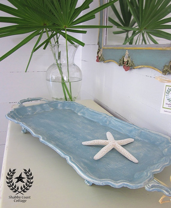 Painted Vintage Silverplated Serving Tray by ShabbyCoastCottage, $65.00