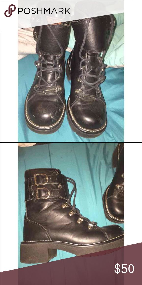 Harley Davidson boots! Nwot Great condition. Never worn, just not my size! Very cute! And seem like they're a very strong material! Pretty sure they're waterproof as well! I can negotiate reasonable prices. Make an offer! Harley-Davidson Shoes Combat & Moto Boots