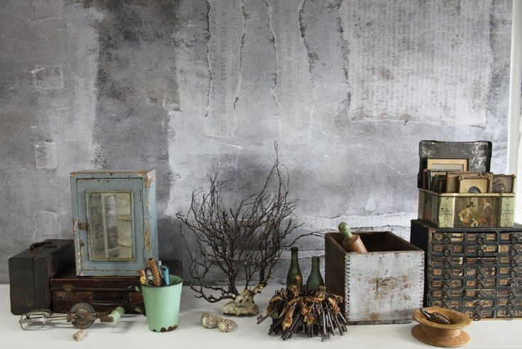 mix of vintage items. Green cabinet & measuring cup. Dusty Patina Mural/ Expression Collection. Styling: Scandinavian Wallpaper & Décor. Photography: Gemma Lovitt.