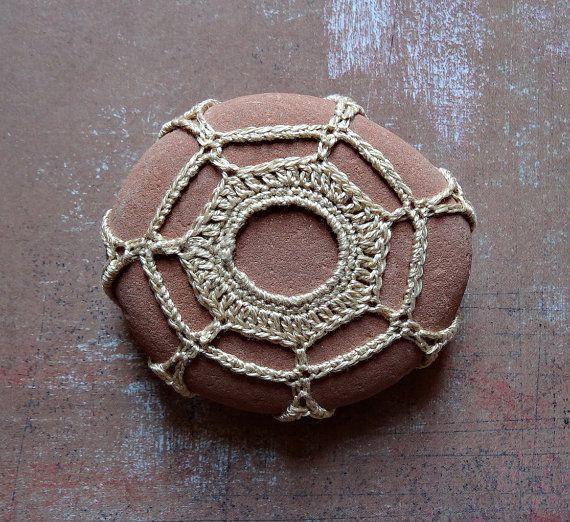 Table Decoration, Crochet Lace Stone, Handmade, Original, Art Object, Folk Art, Golden Beige Thread