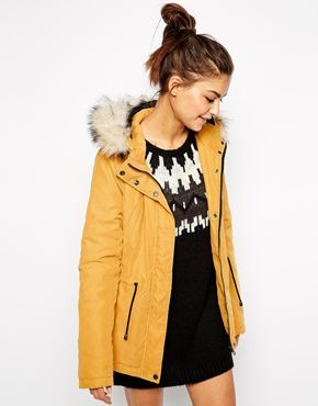 Faux fur hooded parka in mustard | #fashion #winter #outfit