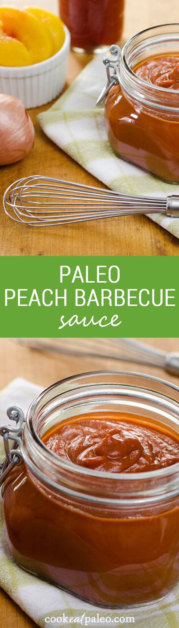 This quick and easy paleo peach barbecue sauce recipe has no ketchup, no added sugar, and you can make it in about 10 minutes! And it's gluten-free. ~ http://cookeatpaleo.com