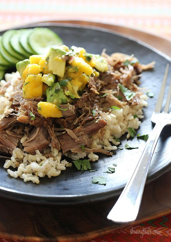 Slow Cooked Jerk Pork with Caribbean Salsa – Pork roast, marinated overnight with fresh citrus juice, garlic, and jerk seasoning, then slow cooked all day while you're away. Topped with a bright, fresh Caribbean salsa of fresh mangos, avocado and cilantro. So good!!