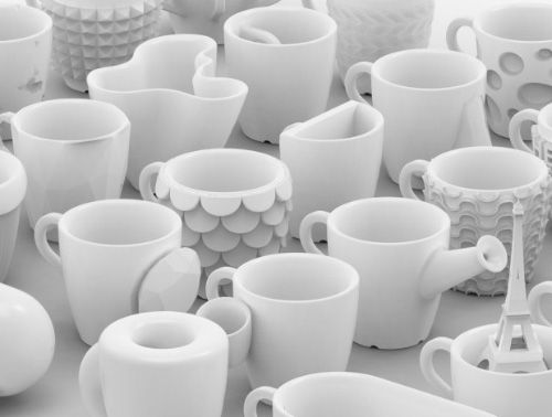 3-D coffee cups.  These are espresso coffee cups printed out of Glazed Ceramics. The printing process takes almost a full day, and the One Cup a Day project aims to design and create 30 unique cups in 30 days. You can purchase their creations from this website where prices range from $36 to $77.