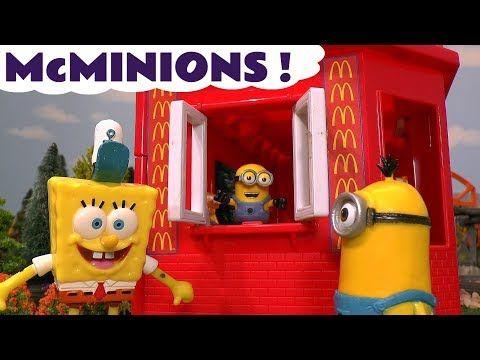 Despicable Me 3 Minions McDonalds Drive Thru Burger vs Spongebob Krabby Patty with Aquaman TT4U - YouTube