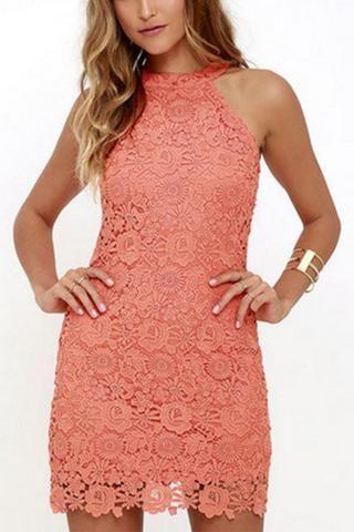 Pink Full Lace Detail Halter Neck Zip Back Mini Dress Wedding