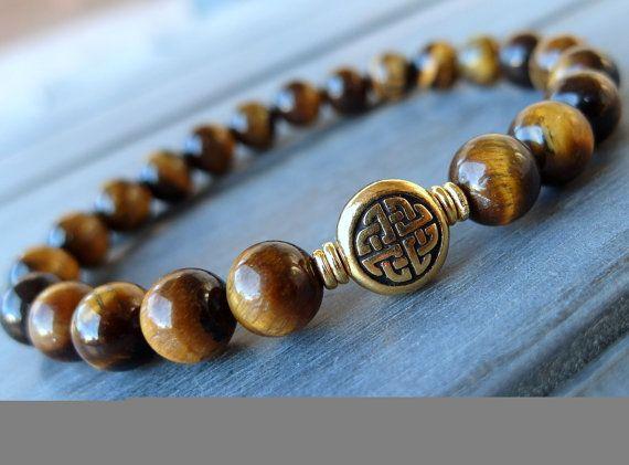 Men's Tigers eye celtic knot bracelet Mala by LifeForceEnergyShop