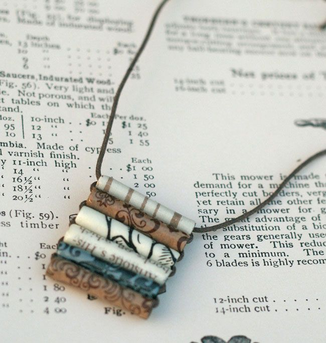 DIY Rolled Paper Beads Necklace. The stringing method is simple. Also directions for bracelets.