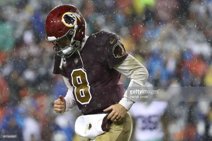 Quarterback Kirk Cousins #8 of the Washington Redskins reacts after an incomplete pass against the Dallas Cowboys during the fourth quarter at FedEx Field on October 29, 2017 in Landover, Maryland. https://www.fanprint.com/licenses/washington-redskins?ref=5750