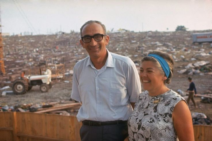 Max and Miriam Yasgur at Woodstock after it was over.