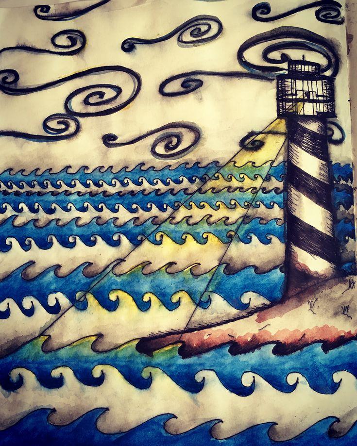 Ocean Lighthouse Sketchbook Watercolour Painting by NyxStudioArt