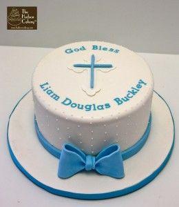 god bless - blue white christening cake