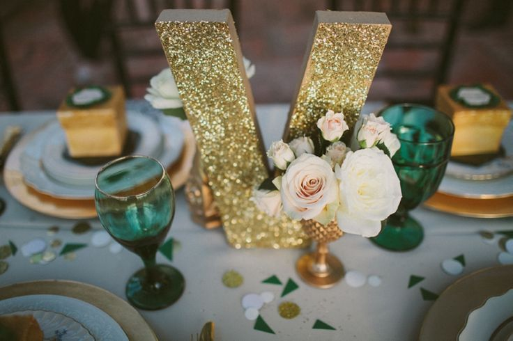 glittered letters as part of a tablescape! // photo by http://studio222photography.com/