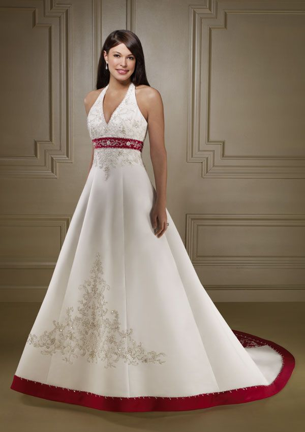 Ivory and red comb wedding dress